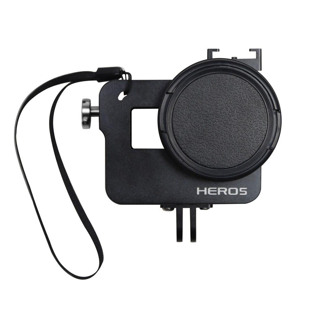 Prix pour SHOOT CNC En Aluminium Alliage Squelette Robuste Cage De Protection Cadre pour GoPro Hero 5 Noir avec 52mm UV Lentille Accessoires