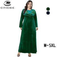 CIVI CHICI Plus Size Loose Jurk Retro Long Robes Femme Floral Embroidery Maxi Dress Fall Winter Flannel Velvet Swing Gown DRS262