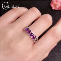 CoLife Jewelry Silver Amethyst Band Ring 4 Pieces Natural Amethyst Silver Ring 925 Silver Amethyst Jewelry