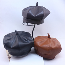 New Trend Kids's PU leather-based Hat Autumn Winter Children Beret Cap Child Peaked CapToddler Heat Bun Hat four colours Drop Transport
