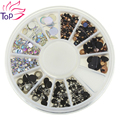 Top Nail 3 Colors 3D Nail Art Rhinestones 4 Sizes Acrylic Diy Glitter 1 Wheel Decorations For Nails ZP239