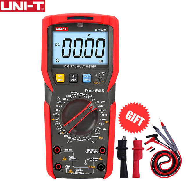 UNI-T UT89XD True RMS Digital Multimeter Tester AC DC Voltmeter Ammeter 1000V 20A Capacitance Frequency Resistance LED Measure