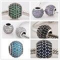 Аутентичные Стерлингового Серебра 925 Multi-Color Micro Pave CZ Кристалл Бисера Шарм Fit Pandora Браслеты Изготовления Ювелирных Изделий Женщины Подарок 1111