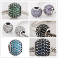 Authentic 925 Sterling Silver Multi-Color Micro Pave CZ Crystal Bead Charm Fit Pandora Bracelets Jewelry Making Women Gift 1111