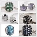 Authentic 925 sterling silver multi-cor micro pave cz cristal bead charme fit pandora pulseiras fazer jóias mulheres presente 1111