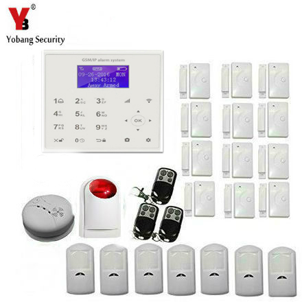 YobangSecurity Wireless Wifi Gsm Home Security Alarm System Kit with Window Door Sensor Wireless Siren Fire Smoke Detector wireless alarm accessories glass vibration door pir siren smoke gas water sensor for home security wifi gsm sms alarm system