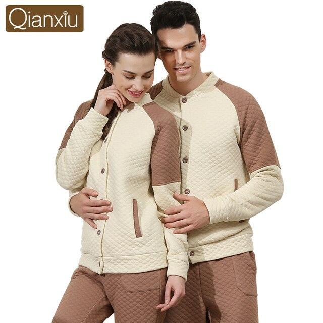 Qianxiu Brand Couple Pajamas Sets Winter Warm Cotton Women Men Sleepwear  Nightwear Fastens In Front Ladies afa826c68