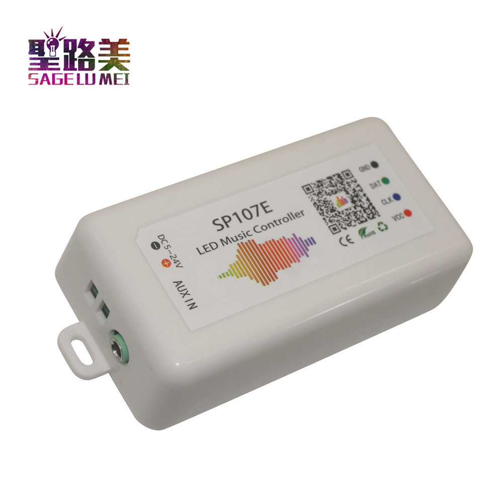 SP107E DC5V-24V Bluetooth Muziek Led Controller Full Color Rgb Spi Controle Door Telefoon App Voor 2812 2811 1903 Led Strip licht Tape