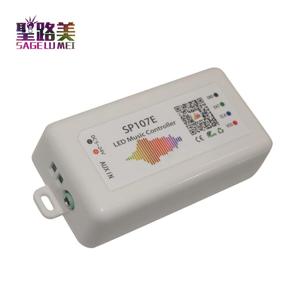 Sp107e DC5V-24V bluetooth música led controlador de cor cheia rgb spi controle por telefone app para 2812 2811 1903 led tira fita de luz