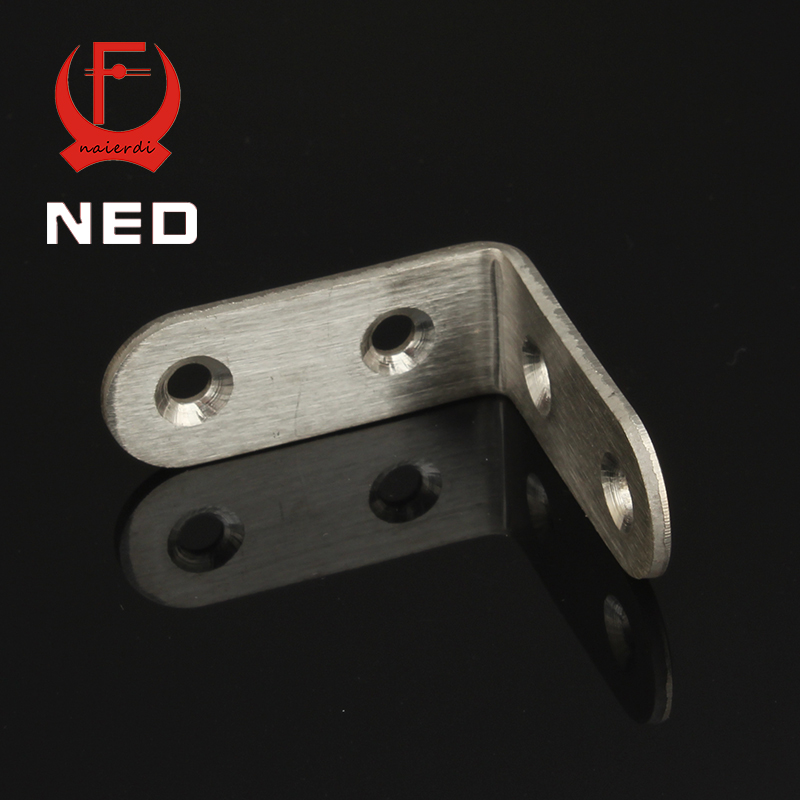 NED 10pcs 45x45x20mm Practical Stainless Steel Corner Brackets Joint Fastening Right Angle 2.5MM Thickened Bracket For Furniture hamlet ned r