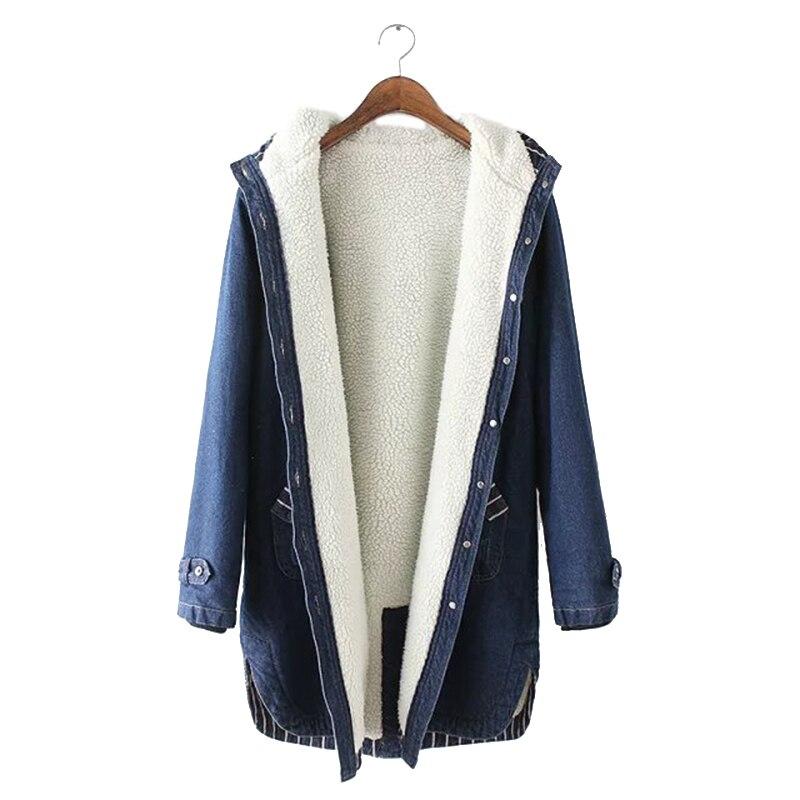 2019 New Winter Women Lamb Fur Parka Coat Warm Hooded Fur Denim Jacket Big Size Casual