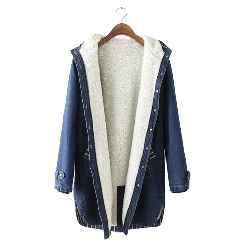 Зимние женские джинсы с мехом, длинное пальто с капюшоном, женская теплая парка, женская джинсовая куртка, джинсовое пальто большого размера, Женская парка