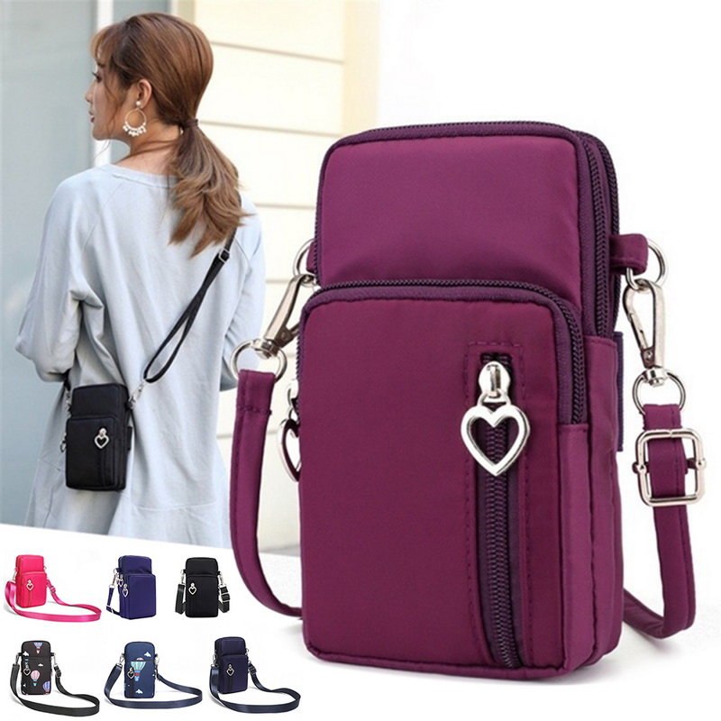 Womens Mini Purple Nylon Cross Body Bag