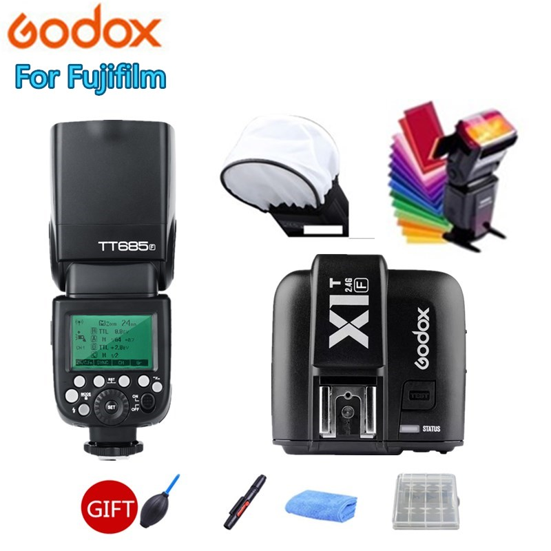Godox TT685 TT685F Flash Speedlite 2.4G Wireless HSS TTL GN60 + X1T-F Trigger Transmitter Kit for Fuji X-Pro2 X-T20 X-T1 X-T2 godox tt685 tt685f 2 4g wireless hss 1 8000s ttl flash speedlite for fujifilm x pro2 x pro1 x t10 x t20 x t2 x t1 x100f x100