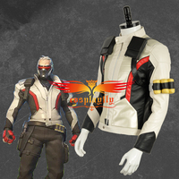 White Version Jacket Only For Adult OW Over and Watch Soldier:76 PU Leather Cosplay Costume Adult Halloween Carnival Christmas