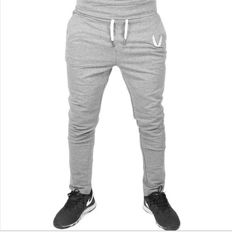 2017 Hombres Gimnasios Pantalones Casual Algodón Elástico Hombres Fitness Fitness Workout Pants, Pantalones de chándal Pantalones Jogger Pantalones