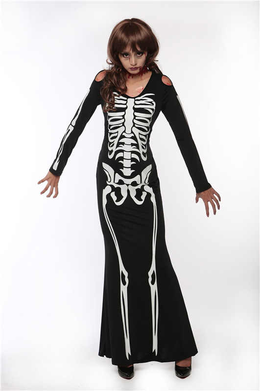 שחור שלד שמלת Ghost קוספליי תחפושות ליל כל הקדושים קוספליי נשים מכשפה ערפד תלבושות