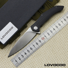 LOVOCOO  ASYMMETRIC  D2 blade G10 handle folding blade hunting practical knife camping survival outdoors knives EDC tool