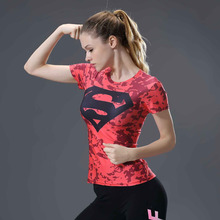 Marvel Women Casual Superman Compression T Shirt Short Sleeve Summer Slim Dry Quick Under Shirt Tee Tops plus size dropshipping