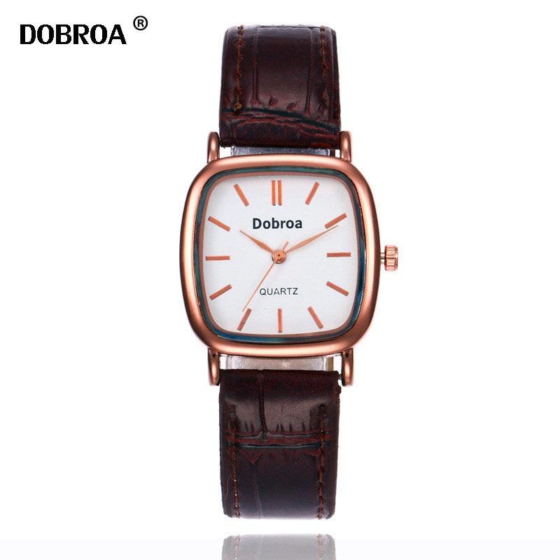 DOBROA Zegarek Meski Montre Women Watch Coffee Golden Luminous Waterproof Steel Belt Couple Erkek Kol Saati Quartz Watch Clock