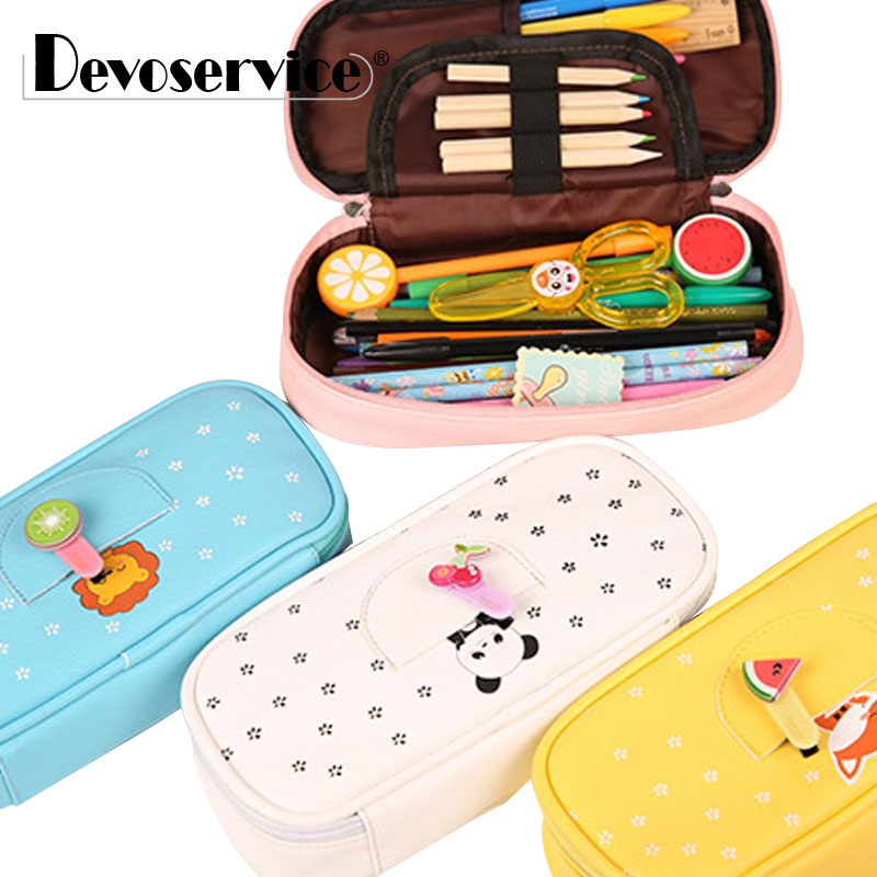 1Pc Kawaii Large Capacity PU Leather Pencil Bag School Supplies Sweet Candy Color Cartoon Animals Pencil Case Pen Bag Stationery kawaii cartoon girls school pencil case with lock cute pu leather large capacity pencil bag gift bts pen box stationery supplies