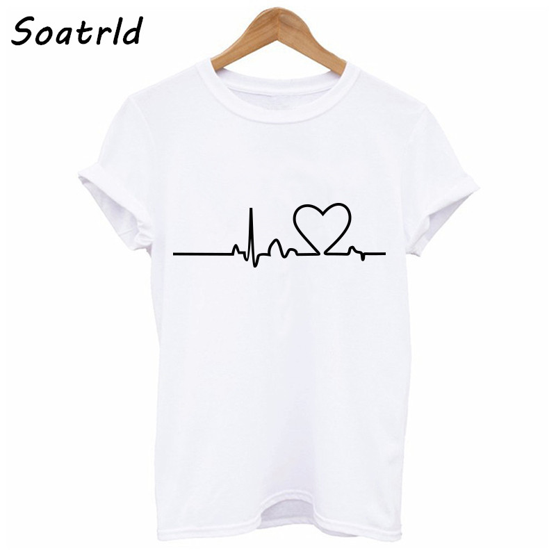 Soatrld 2018 Harajuku Love Printed T-shirts Casual Tee Short Sleeve Women Clothing