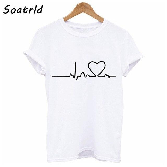 9e28d52a5a9 Soatrld 2018 Новый Harajuku любовь печатных Для женщин футболки  Повседневное футболки летние шорты рукавом женский футболка