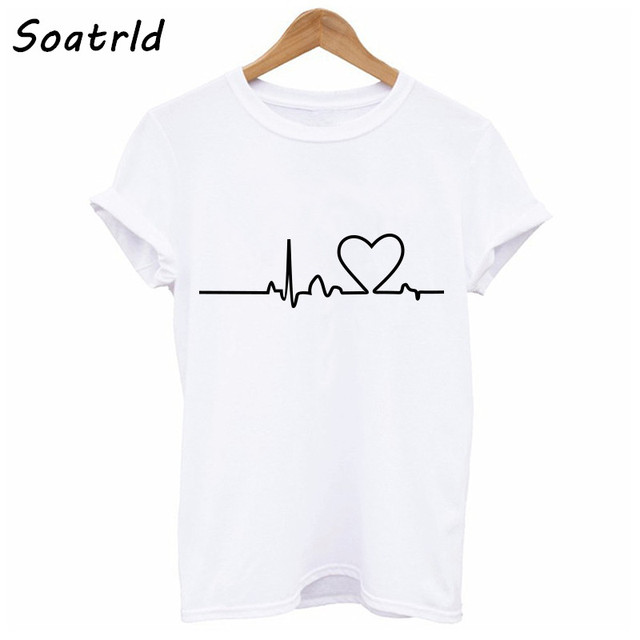 Soatrld 2018 New Harajuku Love Printed Women T-shirts Casual Tee Tops Summer Short Sleeve Female T shirt Women Clothing