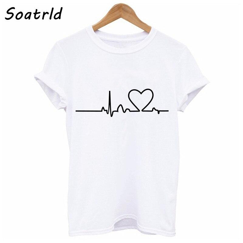 Soatrld 2018 nuevo Harajuku amor impreso mujeres camisetas Casual verano Camisetas manga corta Mujer camiseta mujer ropa