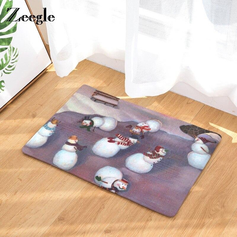 Zeegle Christams Snowman Printed Door Mat Welcome Entrance Mats Anti-slip Bedroom Carpet Kitchen Rugs Home Decor Crafts