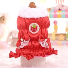 Costume QUILTED Strawberry Inside Pet-Dresses Dog-Down-Jacket Ruffle-Bottom Fleece Warm