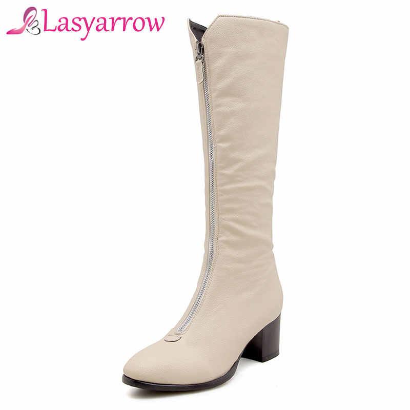 Lasyarrow gros talons pointus cravate à glissière Botas Femininas noir blanc Beige genou bottes hautes moto bottes Martin