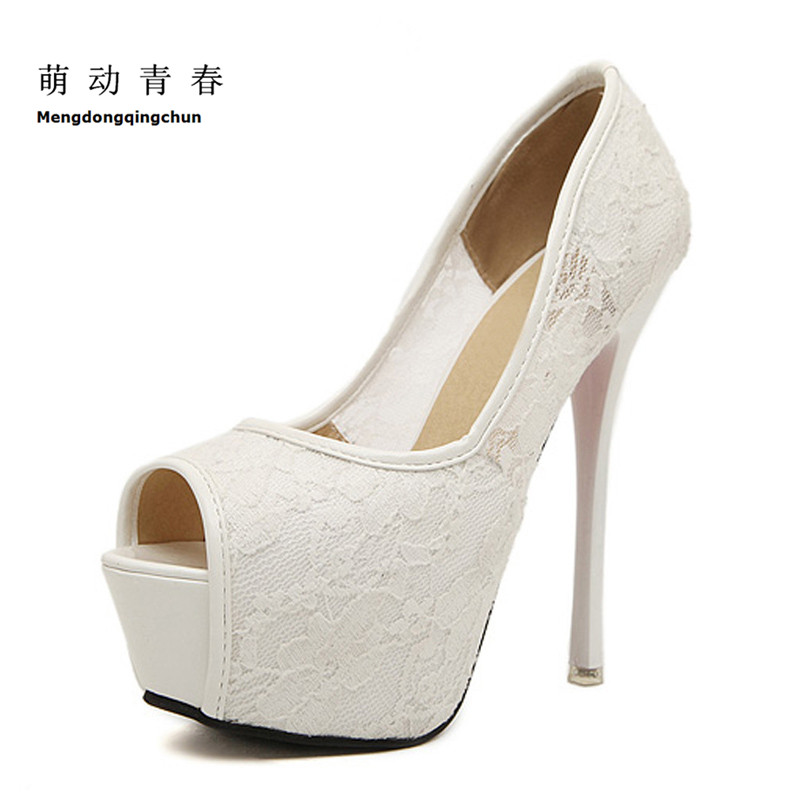 Women Pumps Fashion Lace Peep Toe High Heels Ladies Wedding Shoes Platform White Party Shoes Female Sapatos Femininos 2017 sweet ladies peep toe women ankle boots sexy lace super high thin heels women pumps solid zipper female party wedding shoes
