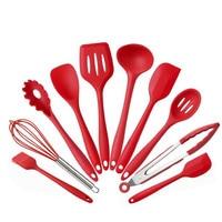 LIRUIKA Silicone Kitchen Utensils 10 Piece Cooking Utensil Set Spatula Spoon Ladle Spaghetti Server Slotted Turner Cooking Tools