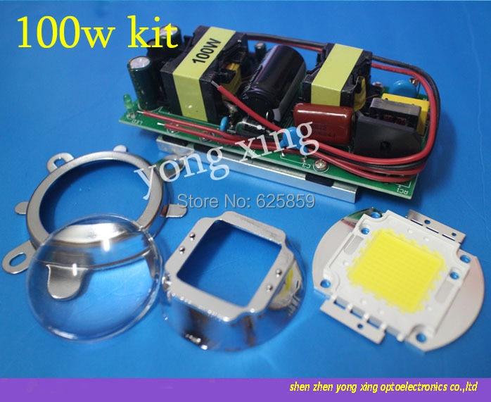 100W white High Power LED LED Driver 44mm Lens Reflector Bracket For DIY led kit