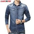 LONMMY M-5XL jeans de Manga Larga hombres de la camisa de Mezclilla camisa masculina Camuflaje de Vaquero hombres camisa Casual ropa de los hombres 2016 Nueva llegada