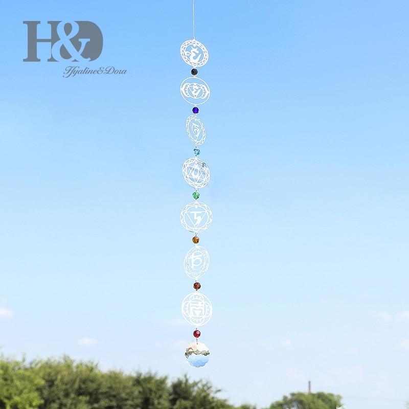 H & D Bola De Cristal do Candelabro Prism Rainbow Chakra Pendurado Janela Girassol Cristais Pendurados Ornamento Suncatcher