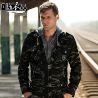 Military Army Style Male Autumn And Winter Commando Jacket 100% Cotton Camouflage Combat Tooling Outerwear Cap