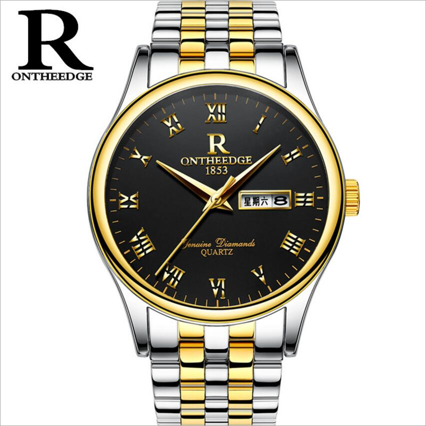 ONTHEEDGE brand watches men Wristwatch waterproof stainless steel Casual business Clock Man quartz watch Montre Homme horloges new arrival 2015 brand quartz men casual watches v6 wristwatch stainless steel clock fashion hours affordable gift
