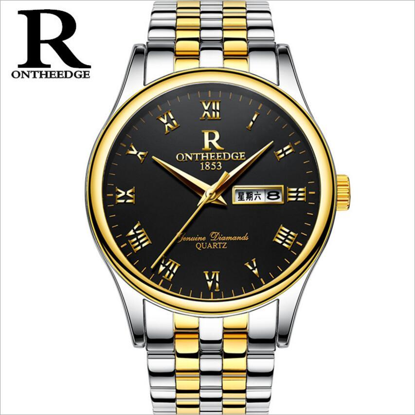 ONTHEEDGE brand watches men Wristwatch waterproof stainless steel Casual business Clock Man quartz watch Montre Homme horloges стоимость
