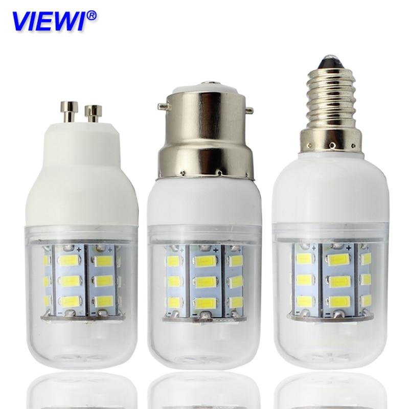 Viewi Bombillas 12 В светодиодные лампы E27 E14 E12 B22 GU10 G9 домашний свет 220 В 110 В SMD5730 27 светодиодов 12 вольт лампы освещения для дома ампулы