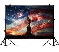 5x7ft American Flag Independence Day Statue Liberty Banner Polyester Photo Background Portrait Backdrop