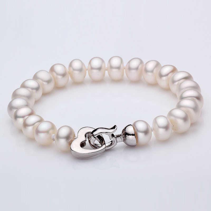 ホワイト天然淡水真珠のブレスレット、古典的な本物の真珠のブレスレット 9-10 ミリメートル母の誕生日プレゼントマルチドロップ無料