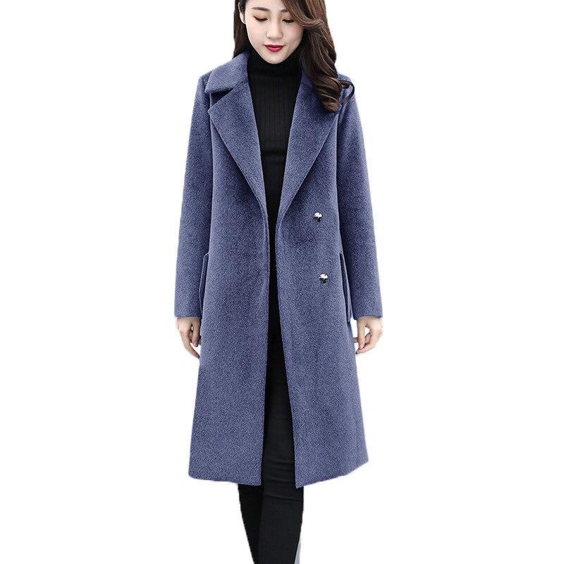 100% Wahr Plus Größe 6xl Frauen Woolen Mantel Herbst Winter Lange Jacken Dünne Weibliche Schwarze Grund Mäntel Große Größe Frauen Woolen Mäntel A2353 Hindernis Entfernen