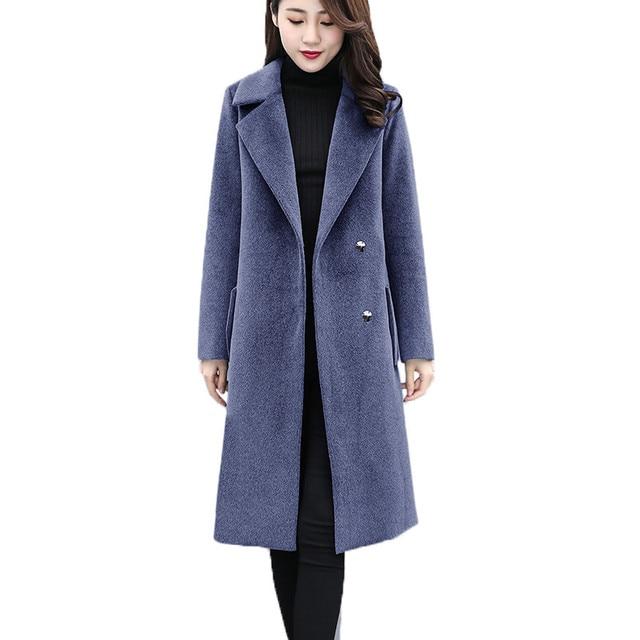 Plus size 6XL Women s Woolen Coat Autumn Winter Long Jackets Slim Female  Black Basic Coats Large f9f21b30b50f