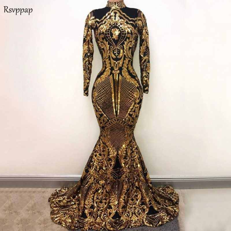 Long Prom Dresses 2019 Sexy High Neck Mermaid Long Sleeve Gold Sequin  Sparkly African Black Girl c719da4cc790