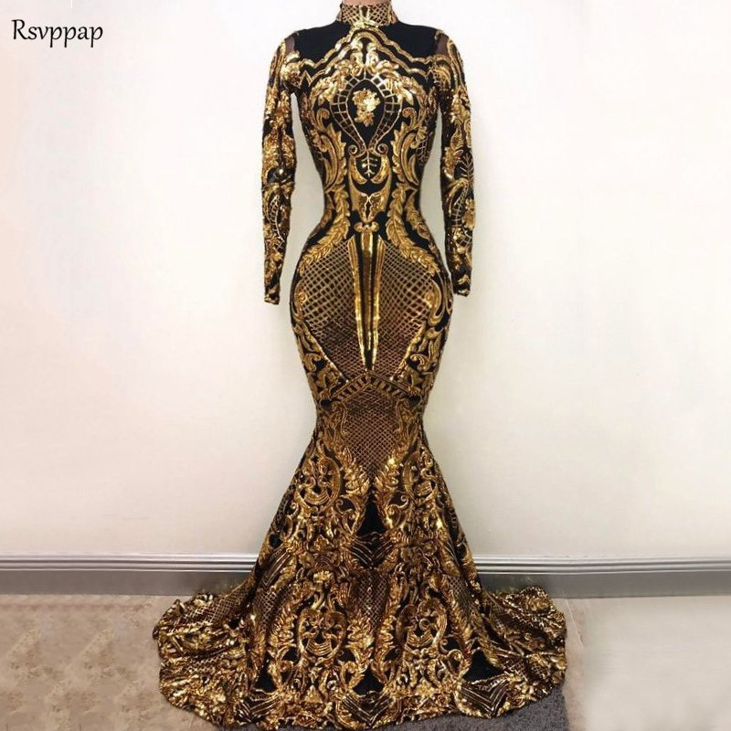 Long   Prom     Dresses   2019 Sexy High Neck Mermaid Long Sleeve Gold Sequin Sparkly African Black Girl   Prom     Dress   Party