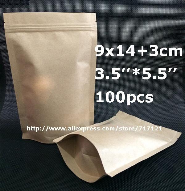 58064238b 100 unids 9*14 cm (3.54 * 5.51) bolsa de papel con cierre/foil bolsos  ziplock para el alimento del Bocado del té del café del regalo empaqueta El  envío ...