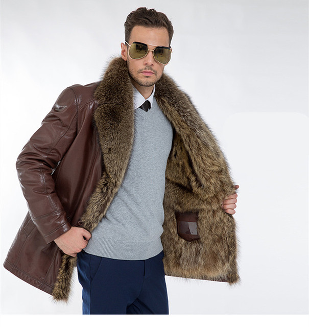 Men long section leather solid coat brown fur lined loose spring winter fashion coat