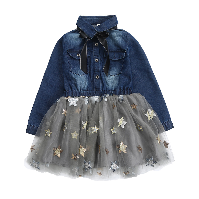 New Spring Autumn Baby Girl Dress Denim Mesh Patchwork Sequined Princess Girl Dress Long Sleeve Toddler Kids Dresses for Girls 2017 new spring autumn children clothes child clothing dresses baby girl rabbit dress baby long sleeve mesh patchwork dress